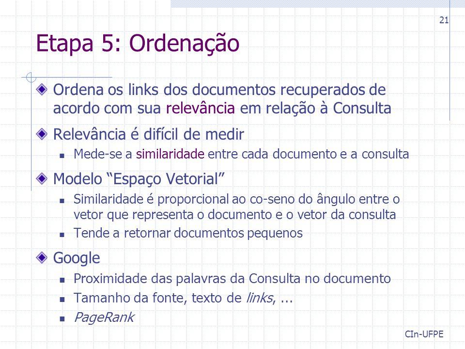 Etapa 5: Ordenação Ordena os links dos documentos recuperados de acordo com sua relevância em relação à Consulta.