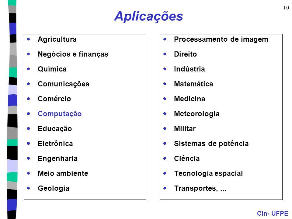 Aplicações Agricultura Negócios e finanças Química Comunicações