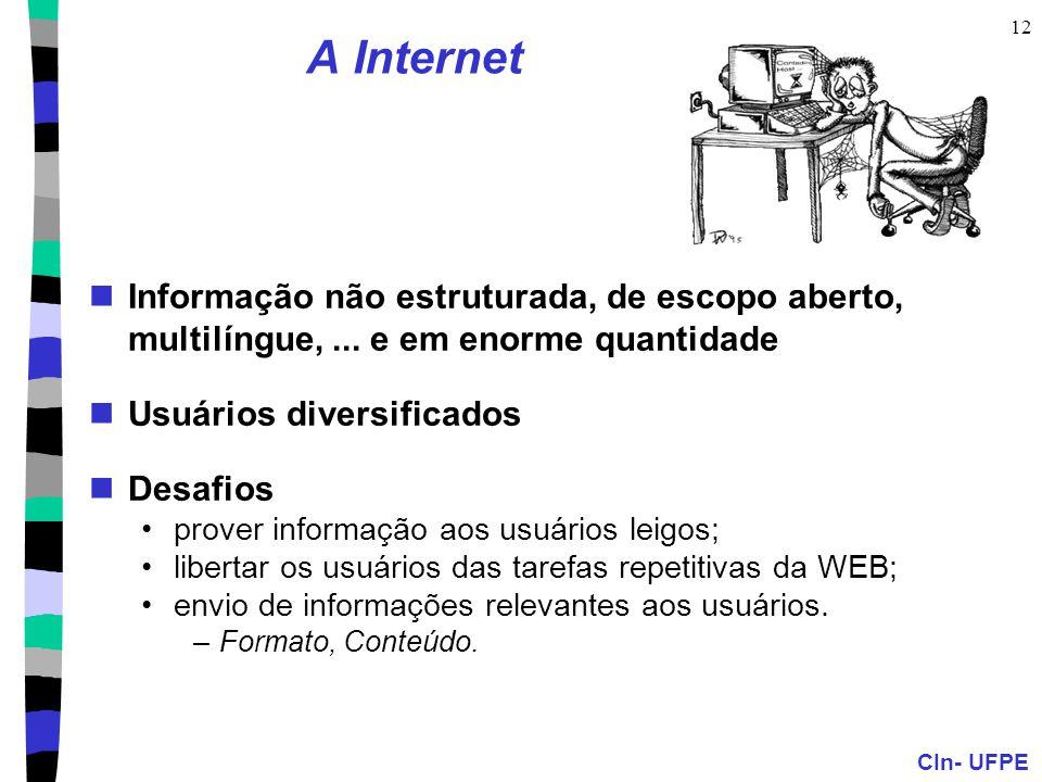 A Internet Informação não estruturada, de escopo aberto, multilíngue, ... e em enorme quantidade. Usuários diversificados.