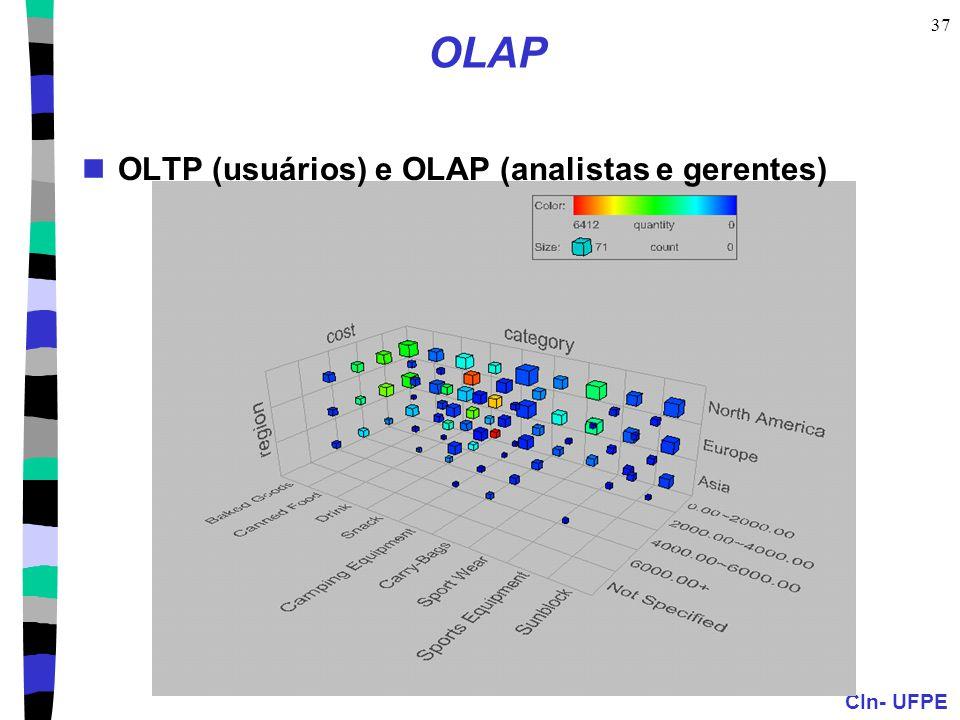 OLAP OLTP (usuários) e OLAP (analistas e gerentes)