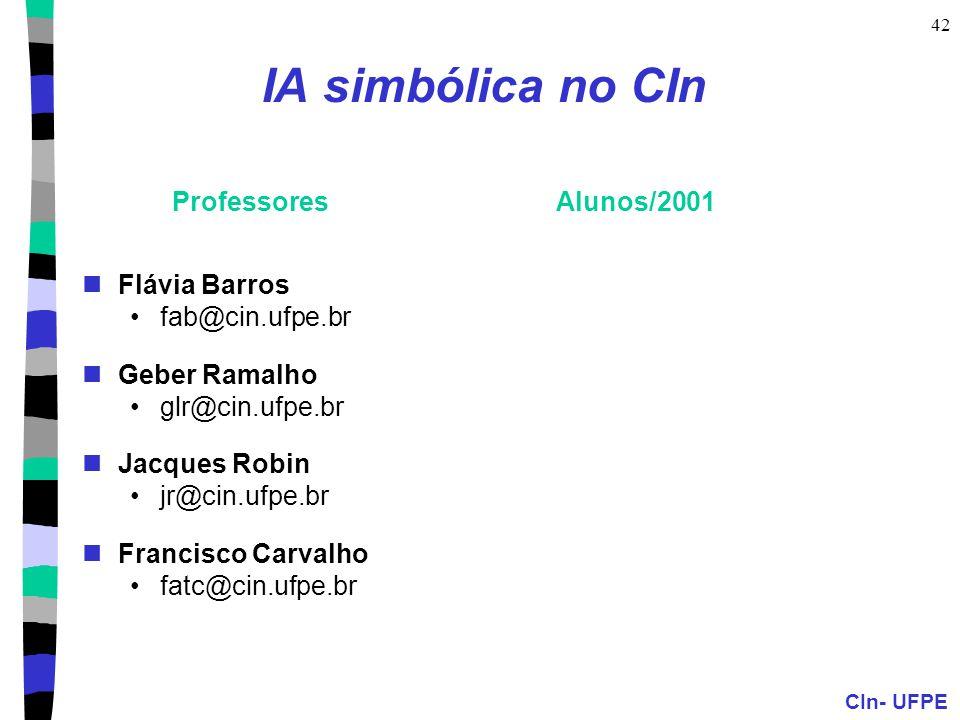 IA simbólica no CIn Professores Alunos/2001 Flávia Barros