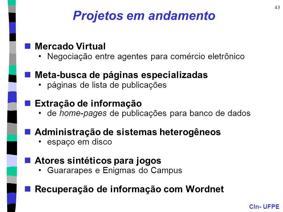 Projetos em andamento Mercado Virtual