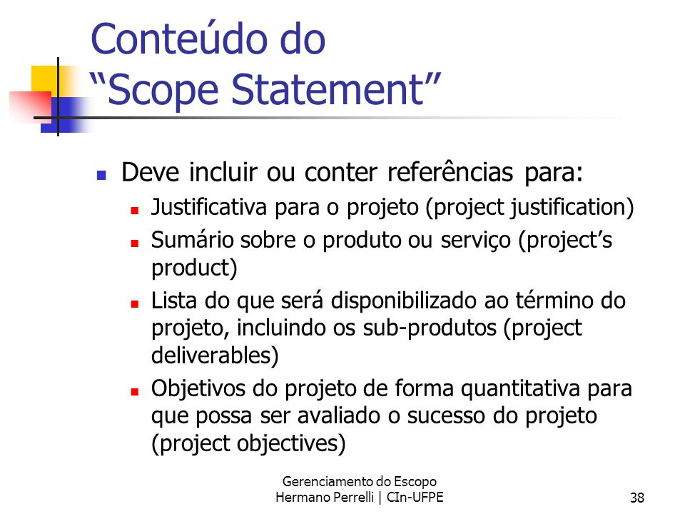 Conteúdo do Scope Statement