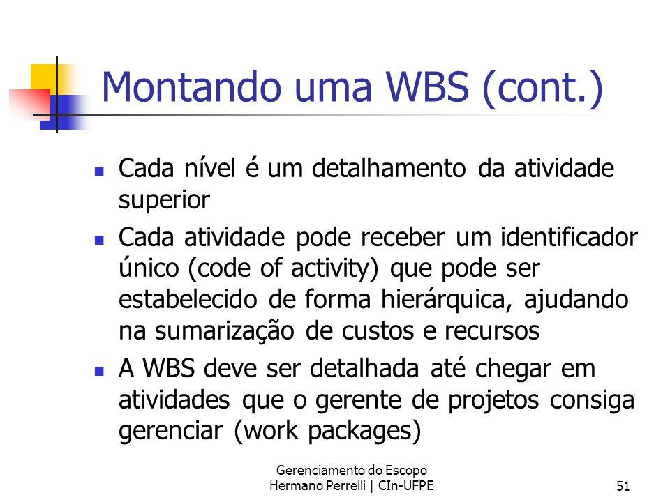Montando uma WBS (cont.)