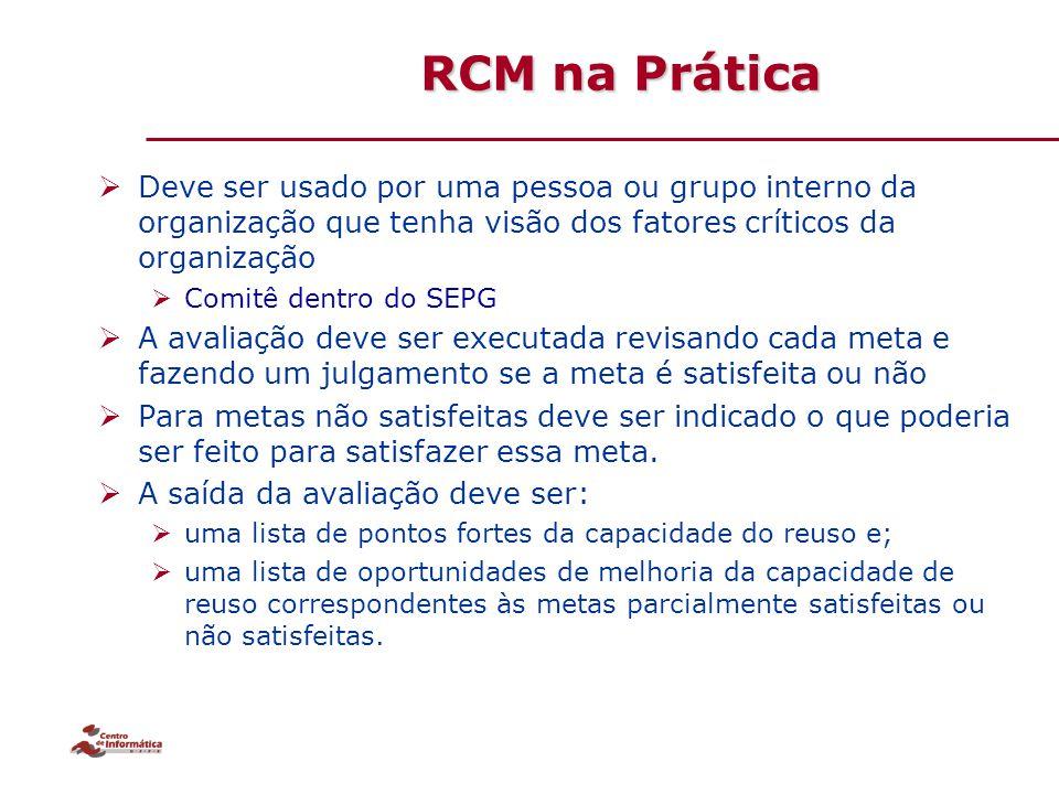 RCM na Prática Deve ser usado por uma pessoa ou grupo interno da organização que tenha visão dos fatores críticos da organização.