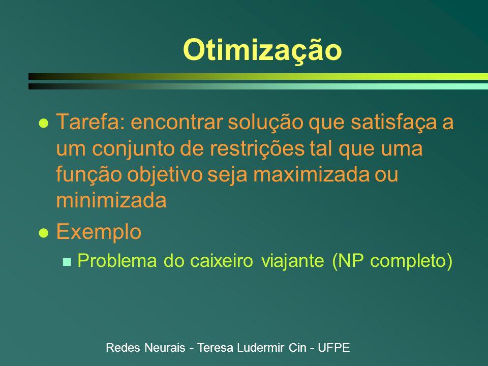 Otimização Tarefa: encontrar solução que satisfaça a um conjunto de restrições tal que uma função objetivo seja maximizada ou minimizada.