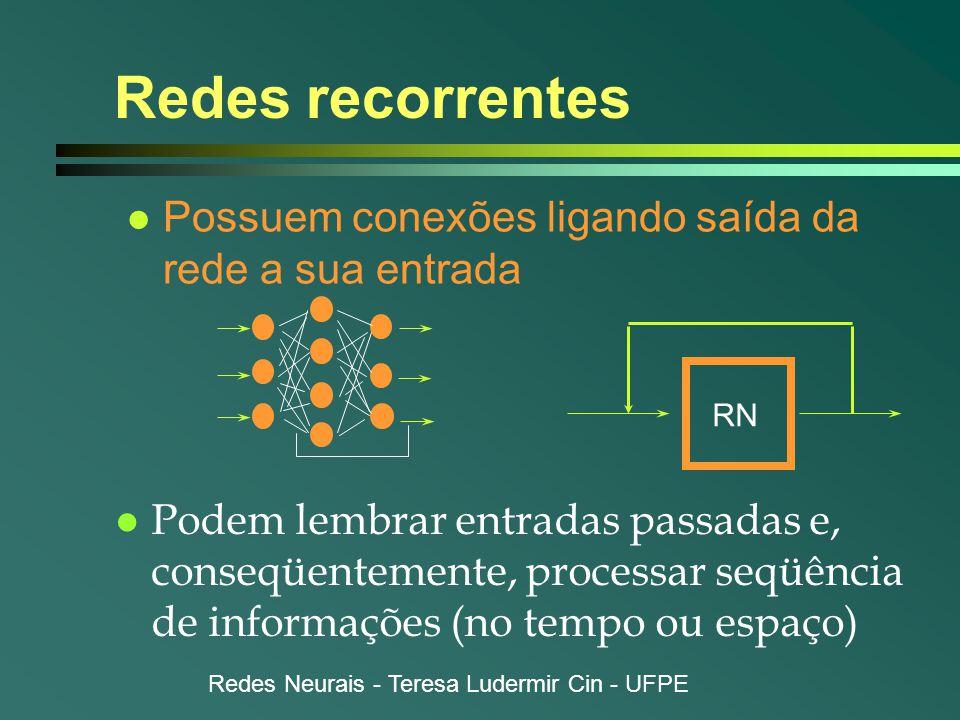 Redes recorrentes Possuem conexões ligando saída da rede a sua entrada