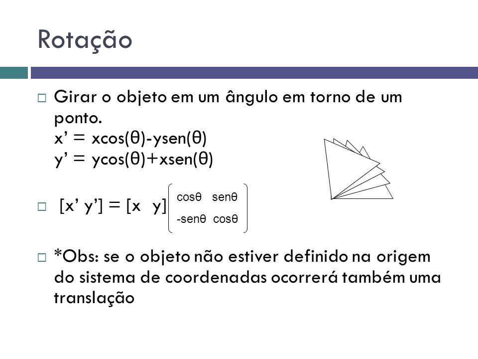 Rotação Girar o objeto em um ângulo em torno de um ponto. x' = xcos(θ)-ysen(θ) y' = ycos(θ)+xsen(θ)