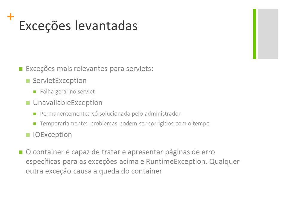 Exceções levantadas Exceções mais relevantes para servlets: