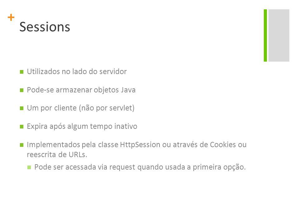 Sessions Utilizados no lado do servidor Pode-se armazenar objetos Java