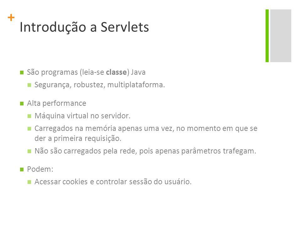 Introdução a Servlets São programas (leia-se classe) Java