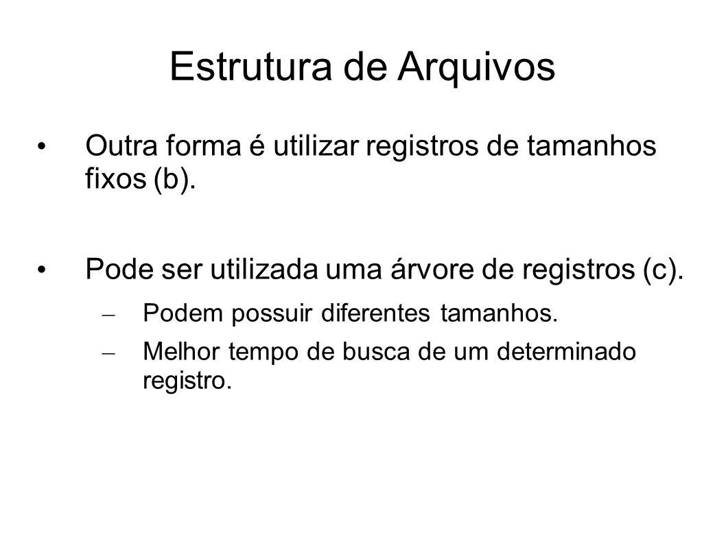 Estrutura de Arquivos Outra forma é utilizar registros de tamanhos fixos (b). Pode ser utilizada uma árvore de registros (c).
