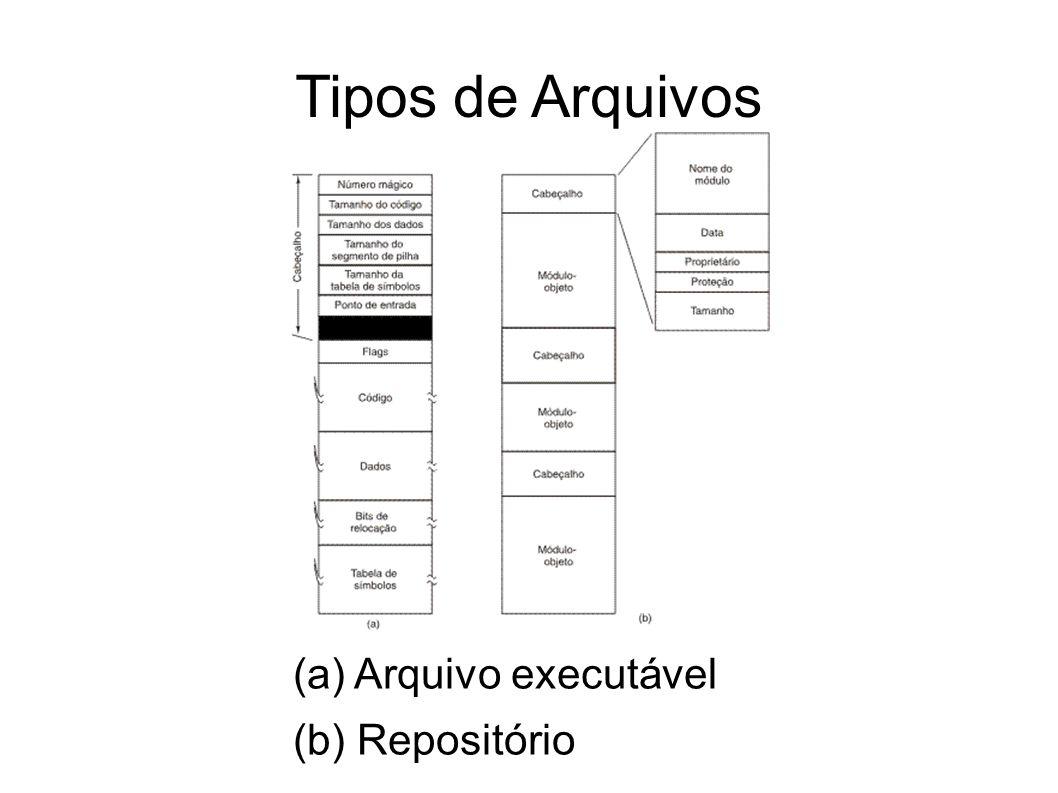 Tipos de Arquivos (a) Arquivo executável (b) Repositório 14