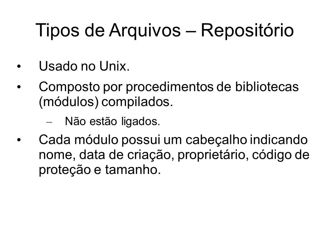 Tipos de Arquivos – Repositório
