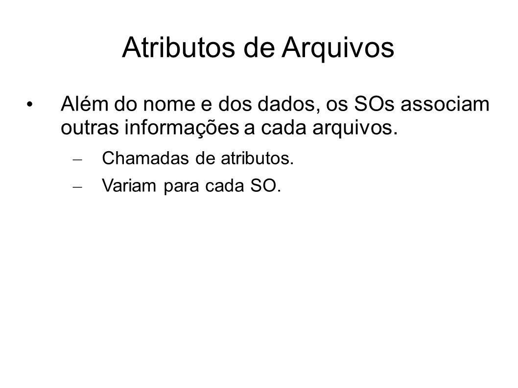 Atributos de Arquivos Além do nome e dos dados, os SOs associam outras informações a cada arquivos.