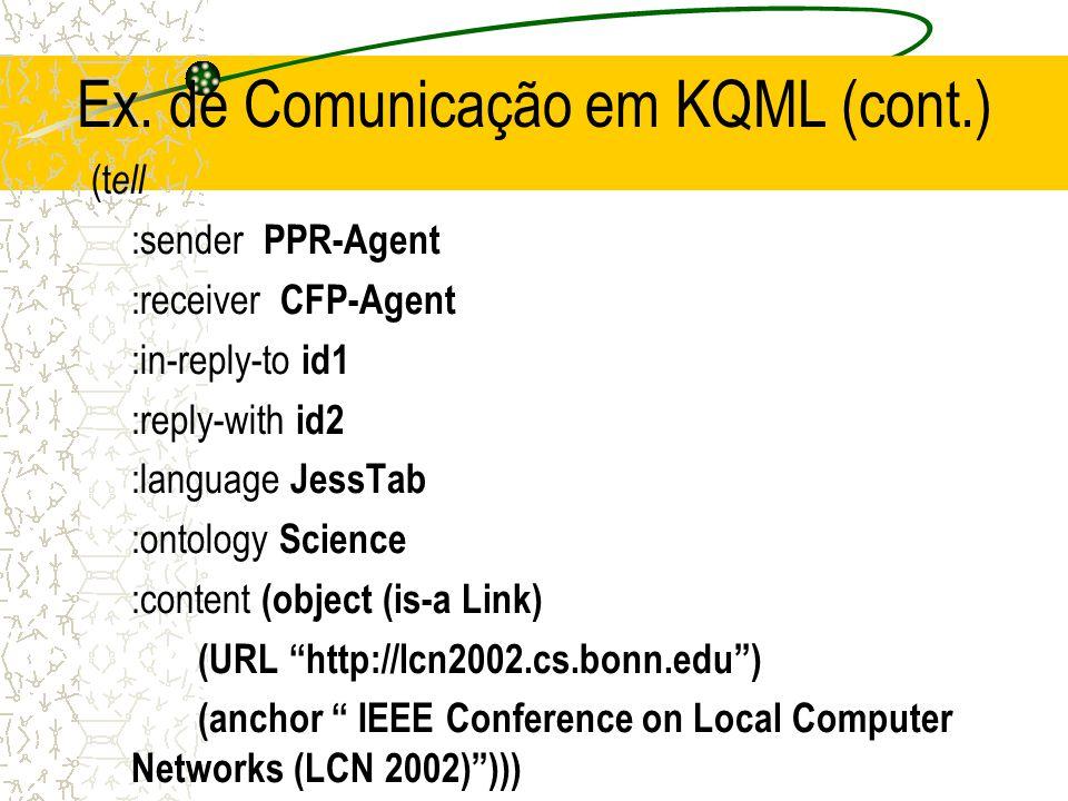 Ex. de Comunicação em KQML (cont.)