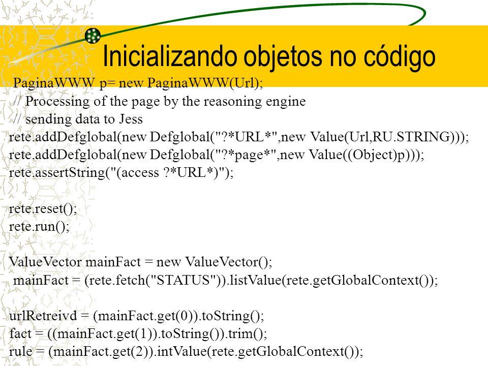 Inicializando objetos no código