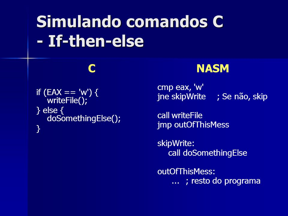 Simulando comandos C - If-then-else