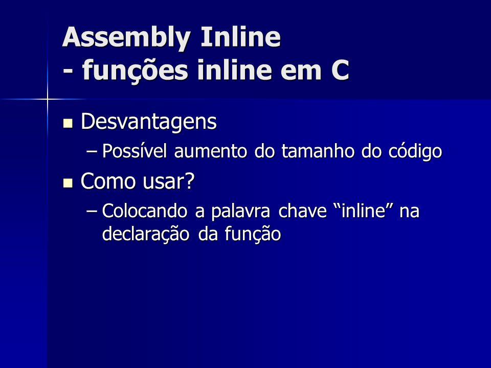 Assembly Inline - funções inline em C