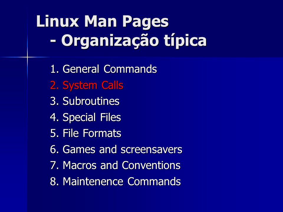 Linux Man Pages - Organização típica