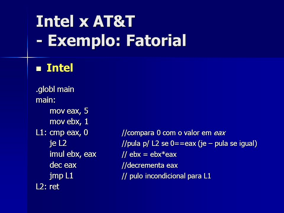 Intel x AT&T - Exemplo: Fatorial