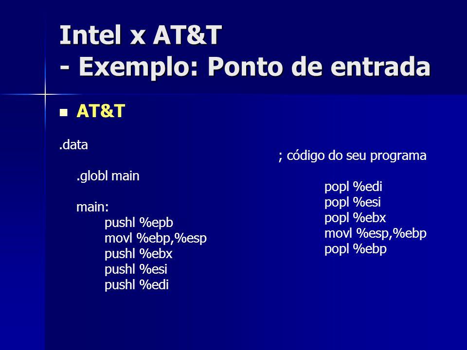 Intel x AT&T - Exemplo: Ponto de entrada