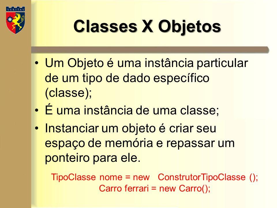 Classes X Objetos Um Objeto é uma instância particular de um tipo de dado específico (classe); É uma instância de uma classe;