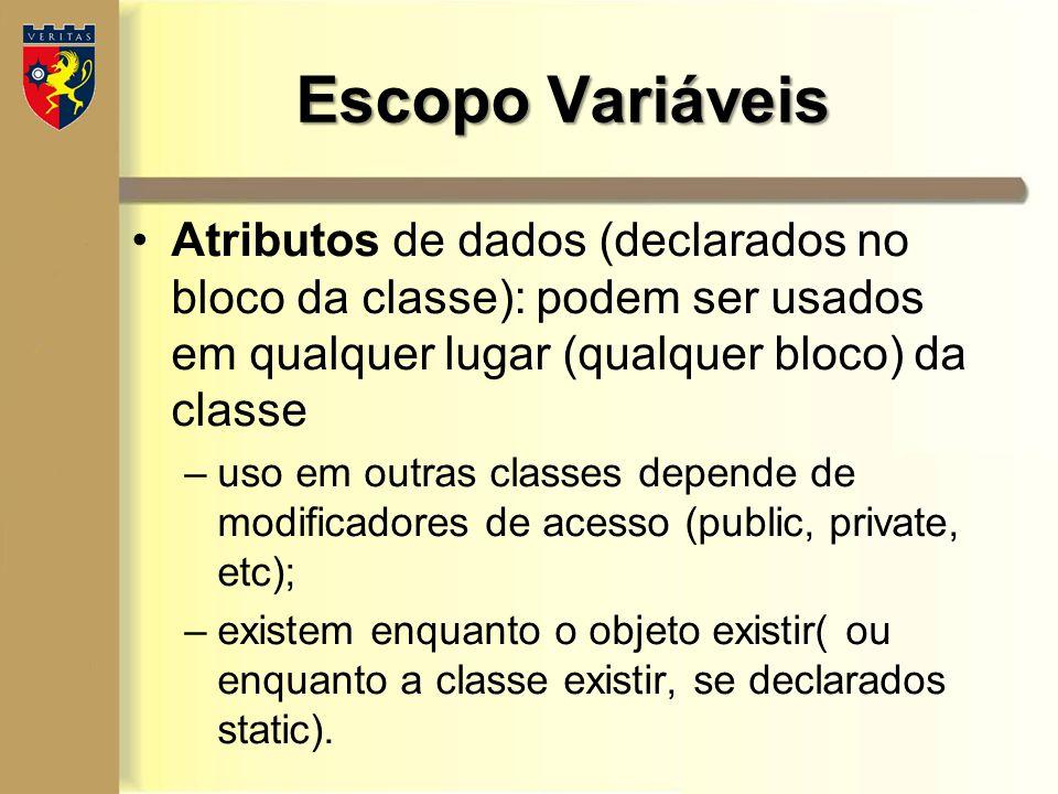 Escopo Variáveis Atributos de dados (declarados no bloco da classe): podem ser usados em qualquer lugar (qualquer bloco) da classe.
