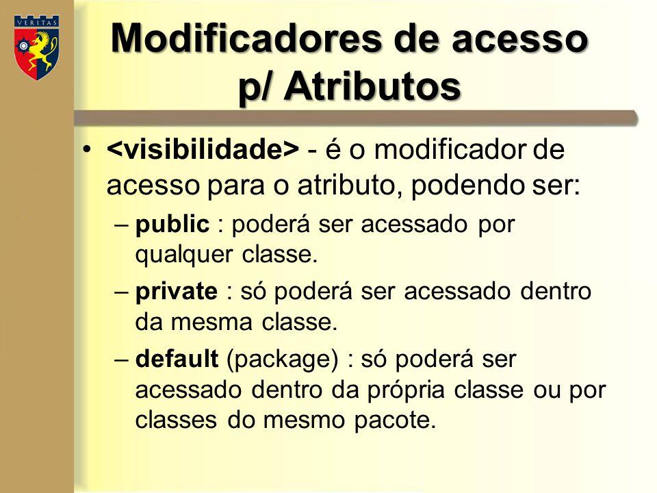 Modificadores de acesso p/ Atributos