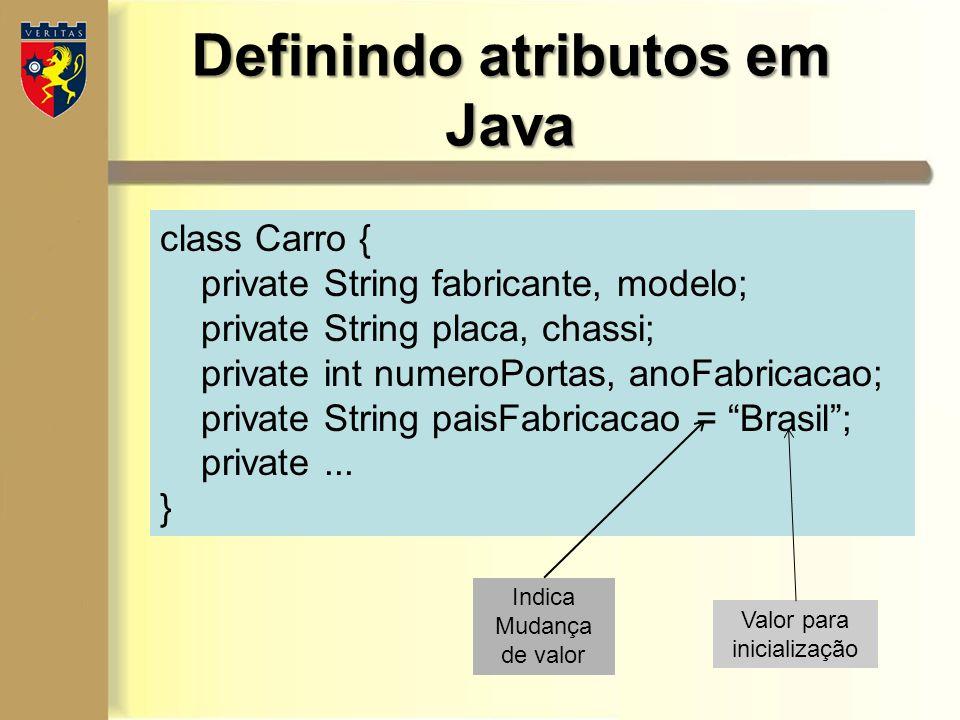 Definindo atributos em Java
