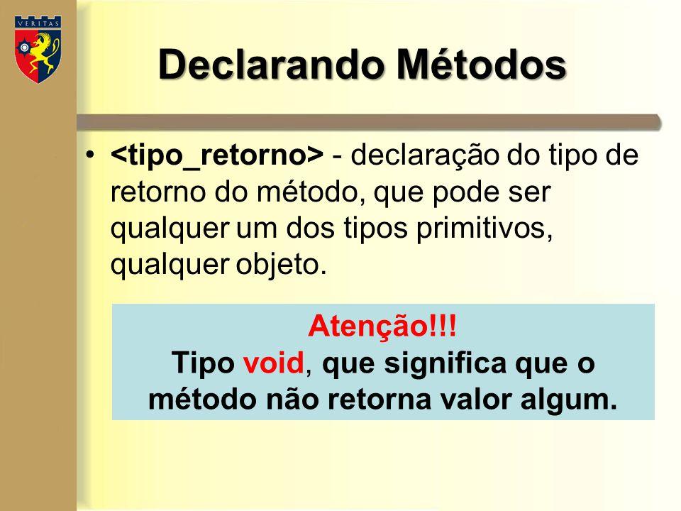 Tipo void, que significa que o método não retorna valor algum.