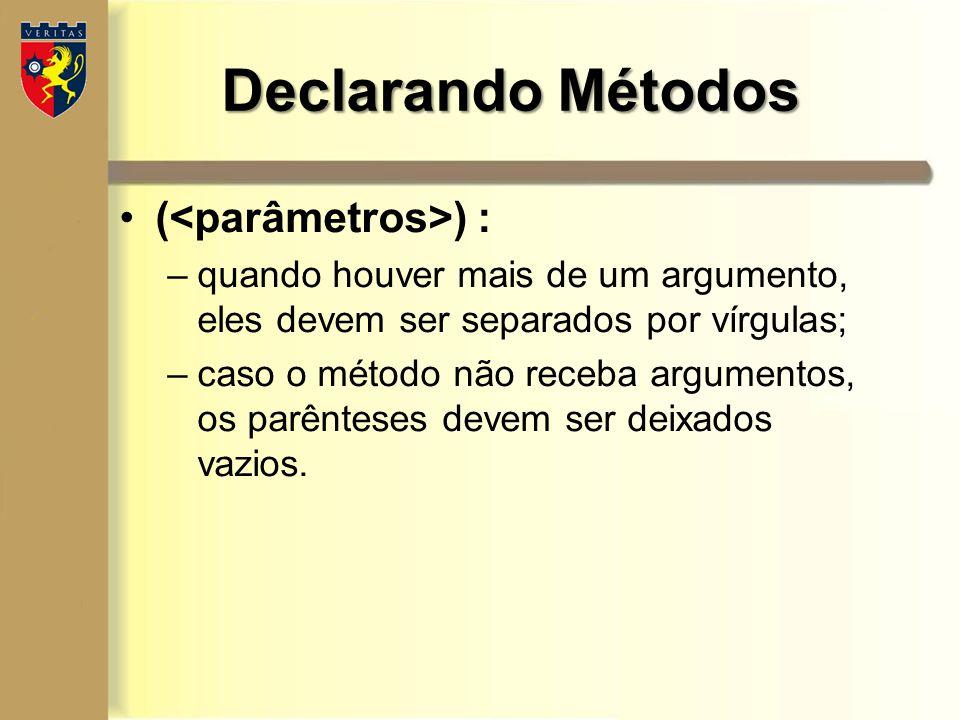 Declarando Métodos (<parâmetros>) :