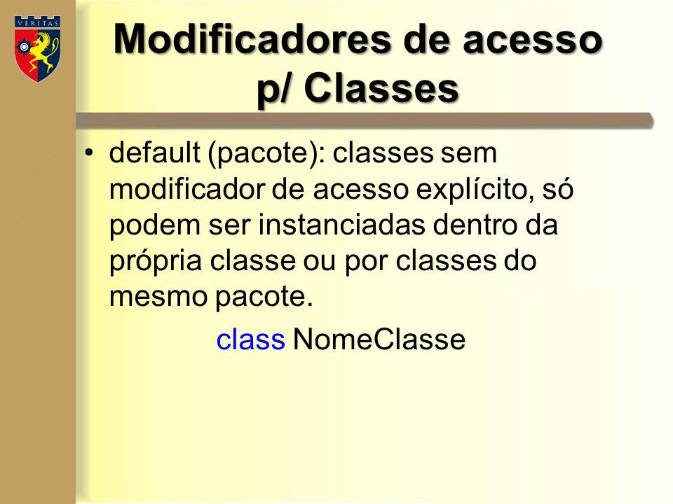 Modificadores de acesso p/ Classes