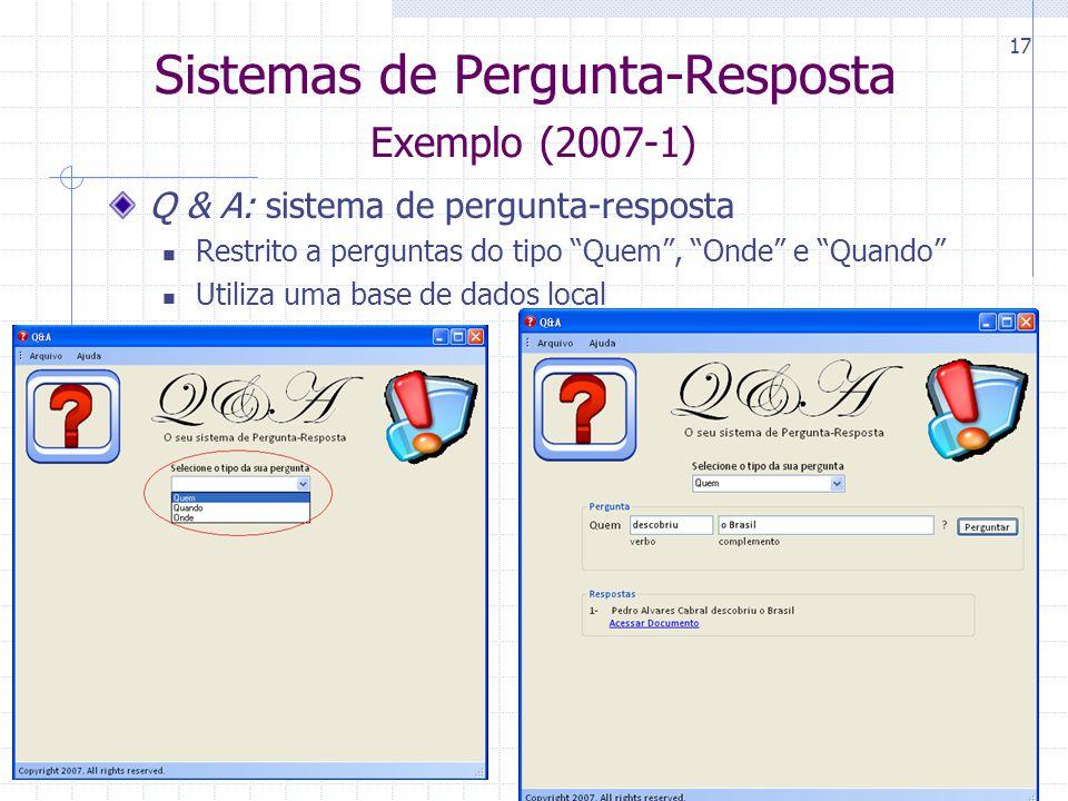 Sistemas de Pergunta-Resposta Exemplo (2007-1)