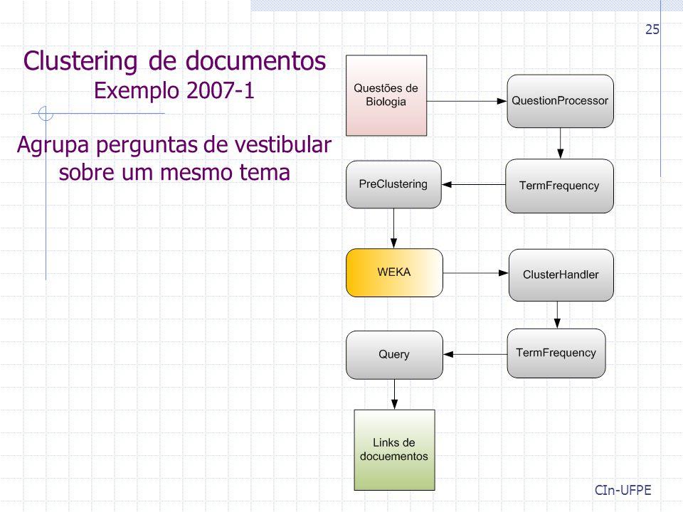 Clustering de documentos Exemplo 2007-1 Agrupa perguntas de vestibular sobre um mesmo tema