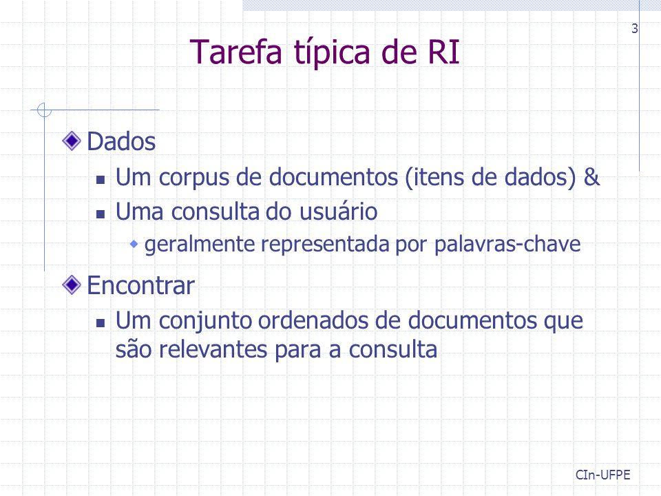 Tarefa típica de RI Dados Encontrar