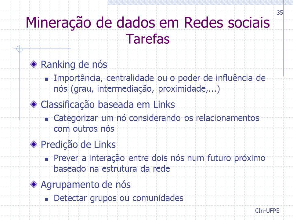 Mineração de dados em Redes sociais Tarefas