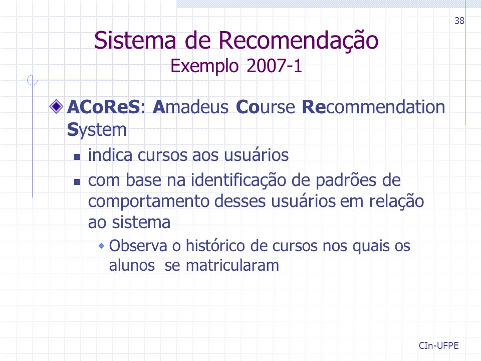 Sistema de Recomendação Exemplo 2007-1