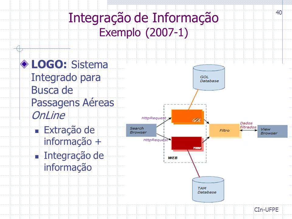 Integração de Informação Exemplo (2007-1)