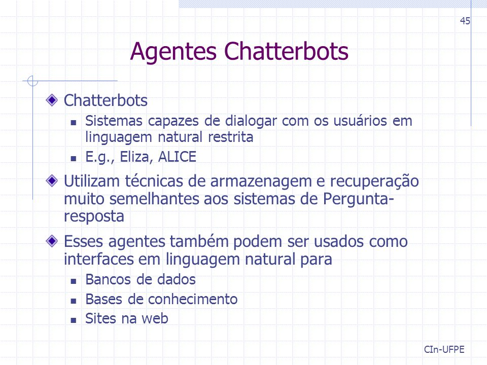 Agentes Chatterbots Chatterbots