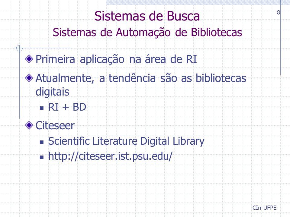 Sistemas de Busca Sistemas de Automação de Bibliotecas