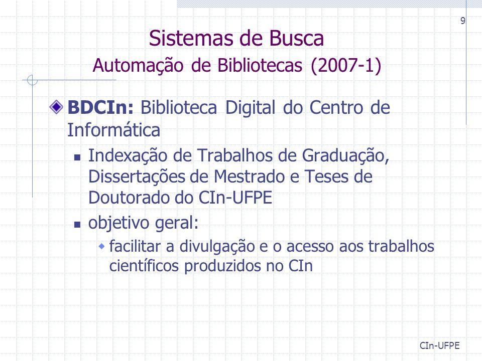Sistemas de Busca Automação de Bibliotecas (2007-1)