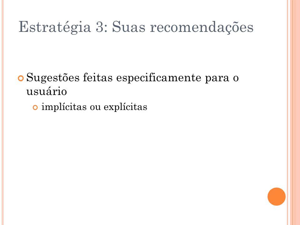 Estratégia 3: Suas recomendações