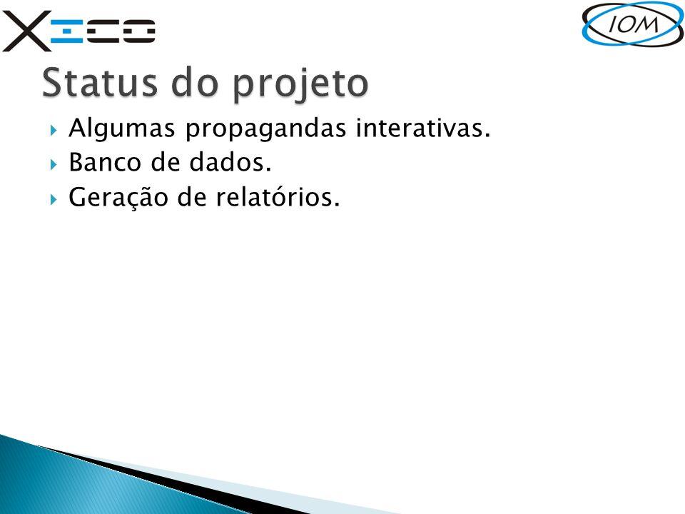 Status do projeto Algumas propagandas interativas. Banco de dados.