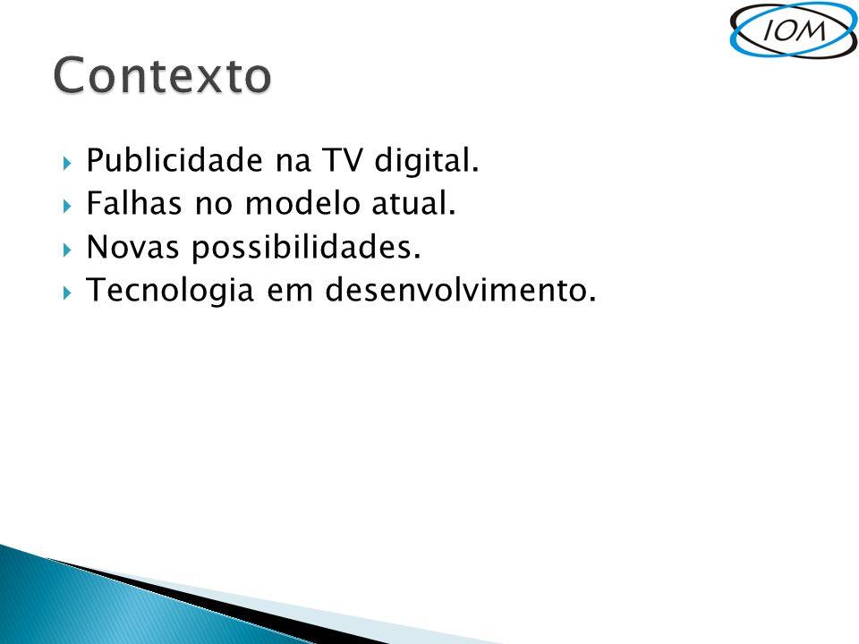 Contexto Publicidade na TV digital. Falhas no modelo atual.
