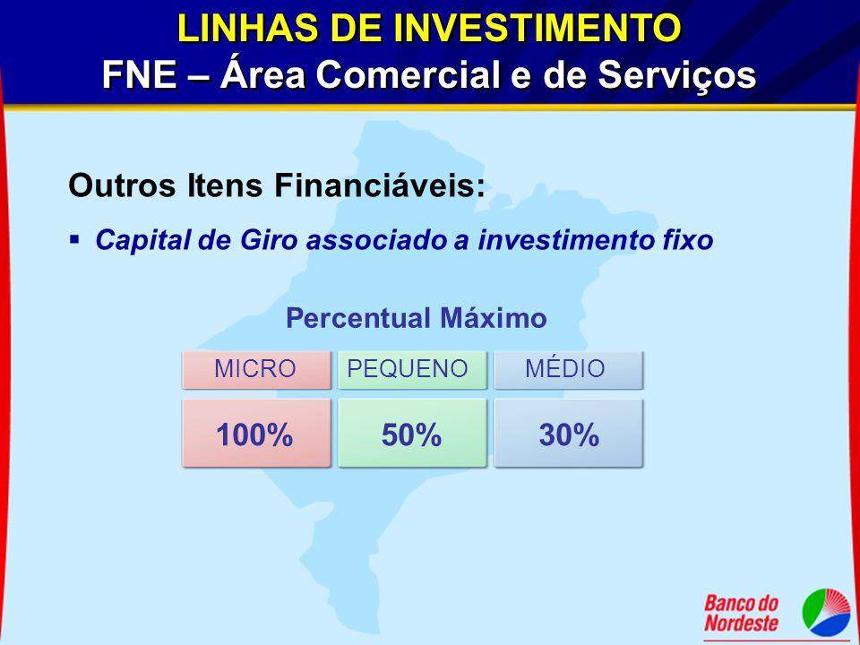 LINHAS DE INVESTIMENTO FNE – Área Comercial e de Serviços