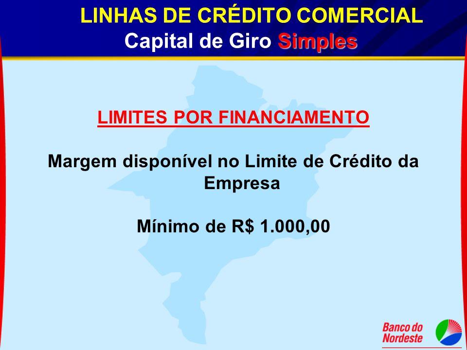 LINHAS DE CRÉDITO COMERCIAL Capital de Giro Simples