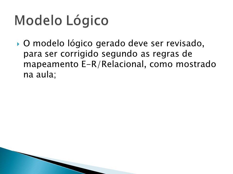 Modelo Lógico O modelo lógico gerado deve ser revisado, para ser corrigido segundo as regras de mapeamento E-R/Relacional, como mostrado na aula;