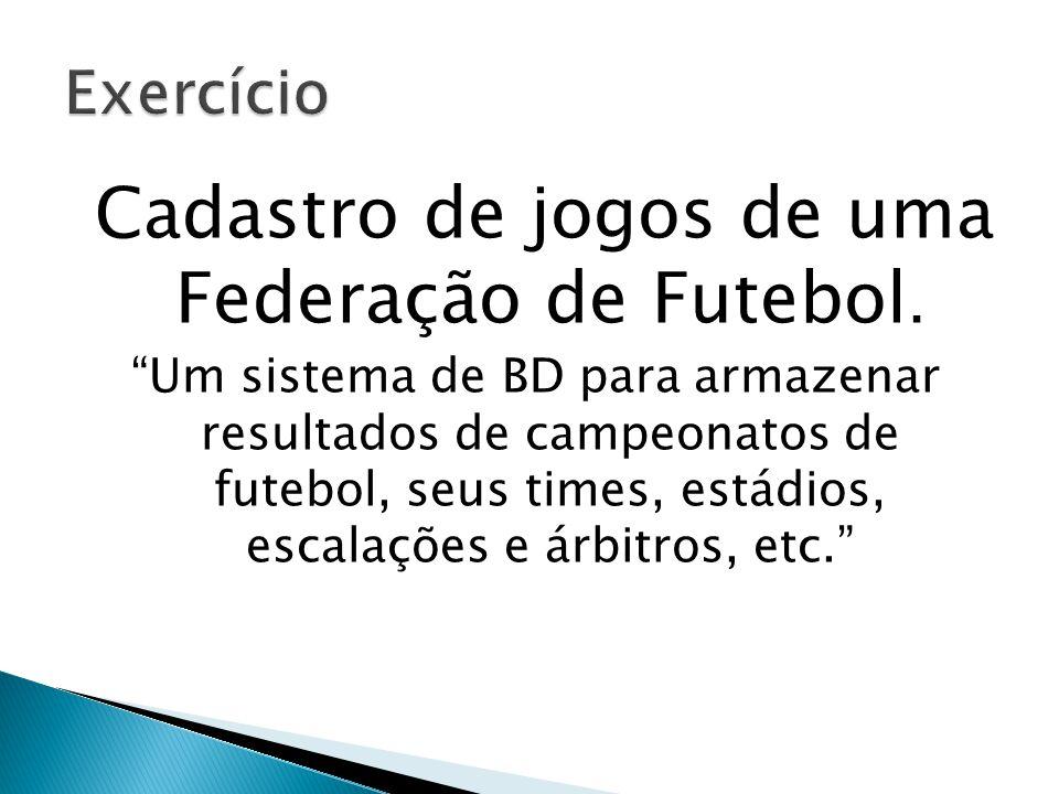 Cadastro de jogos de uma Federação de Futebol.