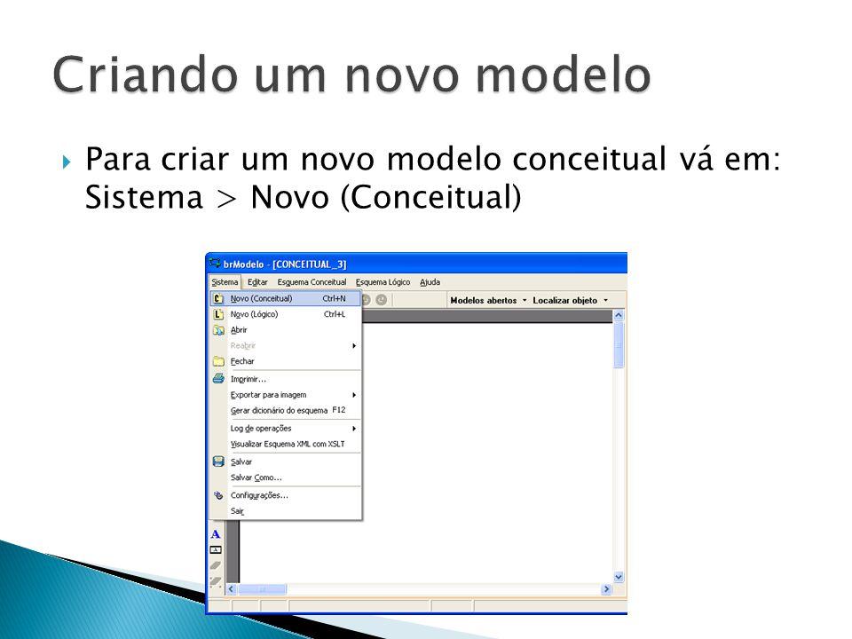 Criando um novo modelo Para criar um novo modelo conceitual vá em: Sistema > Novo (Conceitual)